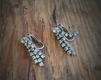 Vintage Rhinestone Drop Clip Earrings