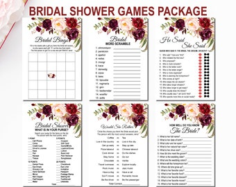 Burgundy Bridal Shower Games Package, Floral Marsala Maroon Pink Boho, Whats in Your Purse, He Said She Said, Instant Download B61