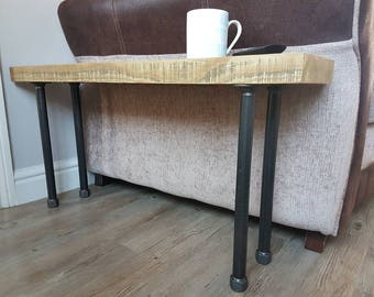 Industrial Bench Rustic Bench Wooden Bench End Table Coffee Table Console Table Reclaimed Wood Iron Pipe Fittings Steel Pipe Fittings