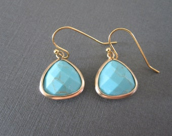 Faceted Turquoise Earrings
