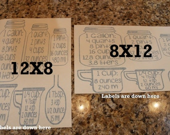 Measurment, jar measurements, mason, kitchen conversion chart, Conversion Jars, Cabinet decals, Jar decal, kitchen measurement, measurements