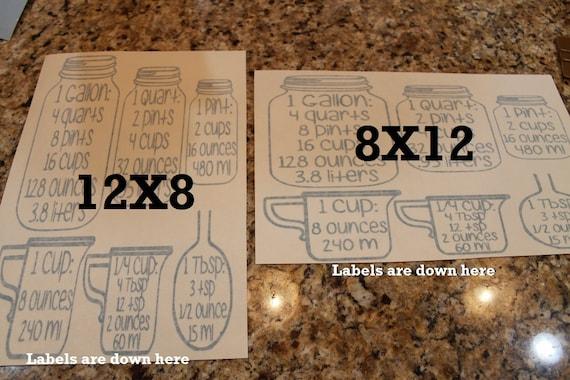 Canada only,  Measurment, jar measurements, mason, kitchen conversion chart, Conversion Jars, Cabinet decals, Jar decal, kitchen measurement