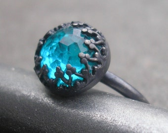 Blue Topaz Ring - Rose Cut Topaz Ring - Rose Cut White Topaz Ring - Blue Topaz Silver Ring - Topaz Sterling Ring- Fancy Bezel Rose Cut Ring