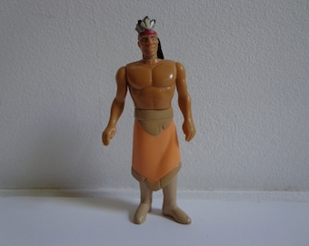Disney Pocahontas Powhatan Indian Chief 90s Toy Doll from Burger King 1995 Kids Meal, Cake Topper Decoration, Collectible Figure
