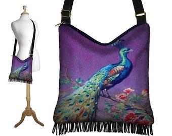 Bohemian Hippie Bag Hobo Purse Crossbody Bag Slouch Purse Gyspy Boho Fringe Bag, Peacock Purse, Cross Body Handbag purple blue red MTO