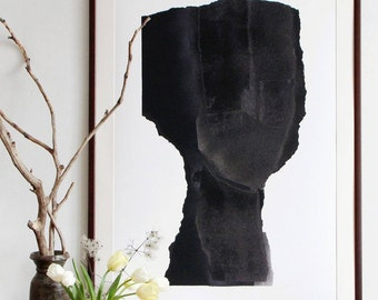 Simple Figurative Painting, Contemporary Abstract Wall Art Decor, Black Art Work, Fine Art Print in all sizes