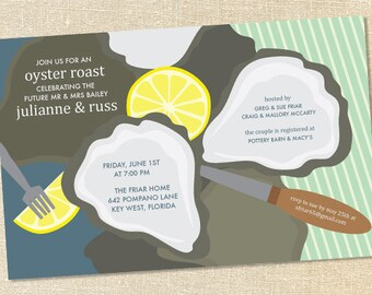 Sweet Wishes Oyster Roast Beach Party Invitations - PRINTED - Digital File Also Available