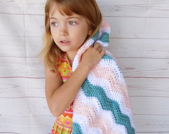crochet baby blanket - blue pink and white baby crocheted blanket - baby girl baby bedding - nursery decor - crib blanket