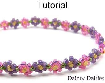 Daisy Stitch Beading Pattern - Jewelry Making Tutorial - Bracelet Necklace - Seed Beads - Simple Bead Patterns - Dainty Daisies #5173