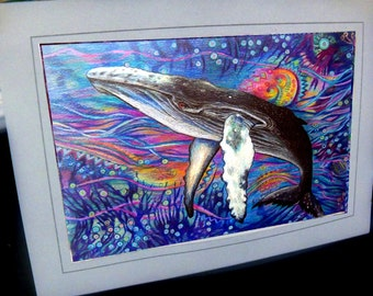 greeting card whale humpback drawing colorful ocean