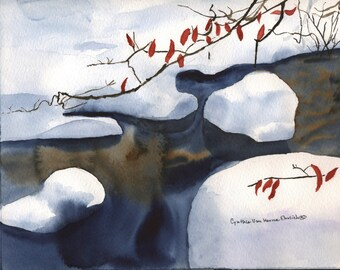 Snow Brook Winter Red Leaves Watercolor Original Watercolor Painting Original Watercolor Painting Landscape-Gift For Him-Vacation Memories