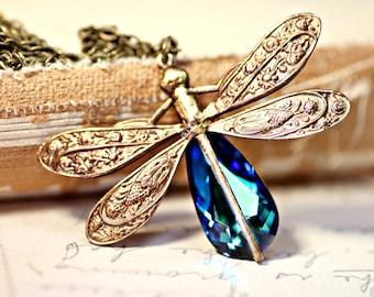Dragonfly Necklace - Swarovski Bermuda Blue Crystal Antique Brass Necklace