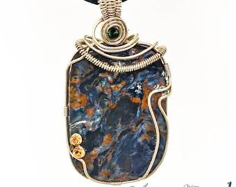 Pietersite mineral pendant  in 925 silver filigree.