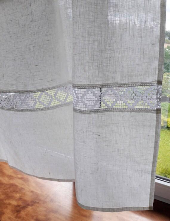 Leinen Gardinen weiß Café Vorhänge panel Vorhang Flachs Leinen
