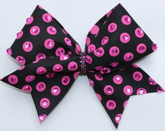 Black and Pink Sparkle Cheer Bow