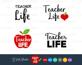 Teacher life svg, teacher svg, apple svg,Files for Silhouette Cameo or Cricut, Commercial & Personal Use.