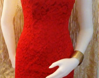 Red Lace Mini Slip Dress by New Leaf Size 7/8