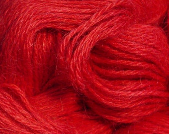 Hand Dyed Alpaca Yarn in Red - Finger Wt - 250 yds