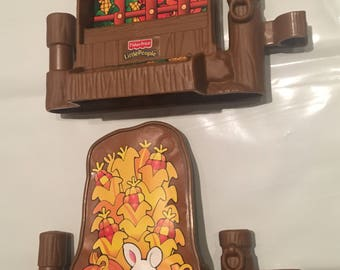 Free shipping Fisher Price Little People Thanksgiving barn farm fence pieces harvest food