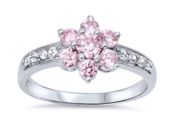 Women Sterling Silver Pink CZ Seven Stone Flower Anniversary Ring 11MM(SNRC104881-PK)