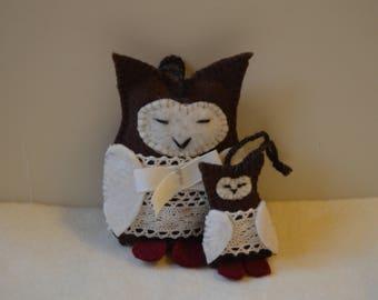 Handmade felt owl ornaments, owl Christmas decorations, Owl with baby owl