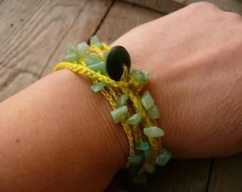 Aventurine bracelet necklace, Aventurine chips, gemstone, crochet linen bracelet, Bohemian, crochet bracelet, Birthday gift, Boho romantic