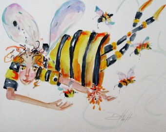 Bumble Bee Fairy No 2 watercolor painting 9x12 Art by Delilah