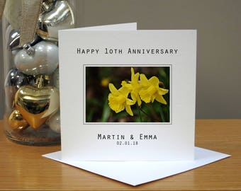 Personalised 10th Wedding Anniversary Flowers Card - Daffodils Anniversary Card -  Tenth Anniversary Card - 10th Anniversary Card