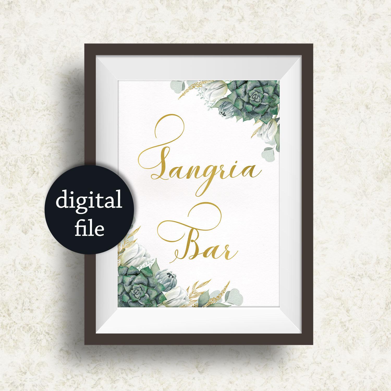 Sangria Bar Sign Succulent Wedding Sangria Bar Sign Shower