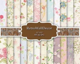 Floral Digital Paper Shabby Chic Papers Floral Patterns Scrapbook Floral Decoupage Papers Vintage Backgrounds Paper 12x12 Buy 2 Get 1 FREE