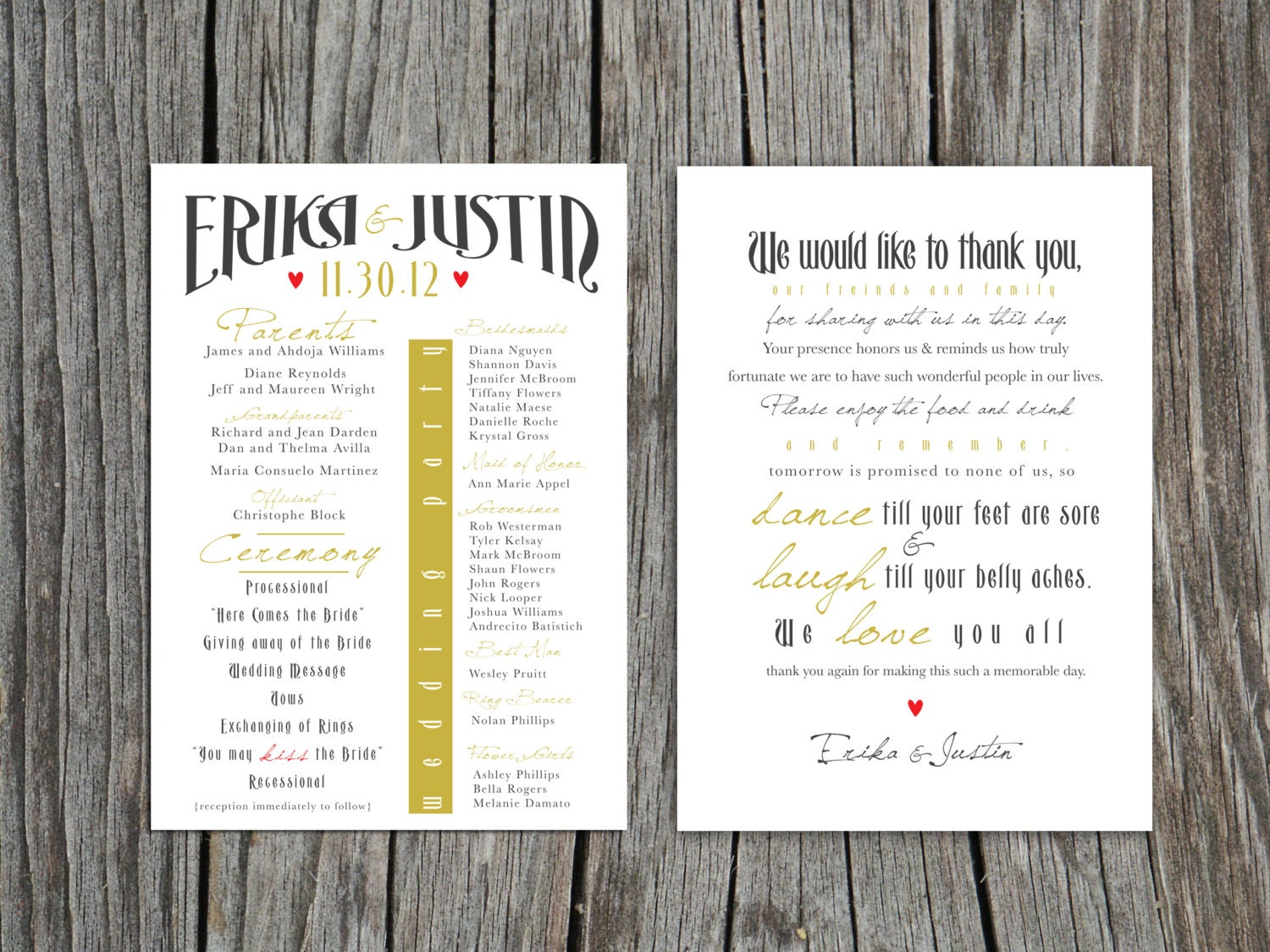 Printable front and back Wedding Program and Thank You