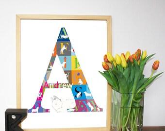 Personalized English Bull Terrier Alphabet Print A3 size Custom print