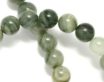 Green Line Jasper Beads - 8mm Round