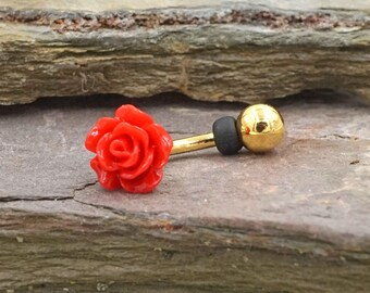 Red Rose Gold Rook Earring Daith Piercing Eyebrow Ring