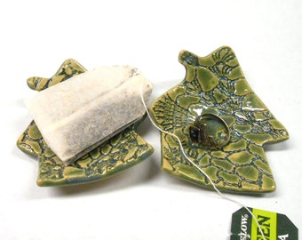 House Ring Dish Tea Bag Holder Teabag Rest Teaspoon Rest Ceramic Ring Dish Pottery Ring Dish House Teabag Holder in Green