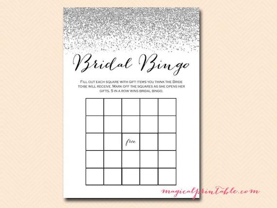Bridal Bingo Cards Blank Bingo Gift Item Bingo Silver