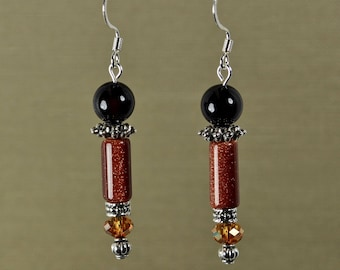Evening Elegance, Goldstone, Agate, and Crystal beads