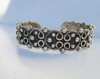 "Heavy Mexico Sterling Silver Ornate Cuff Bracelet - 7-8""   2391"
