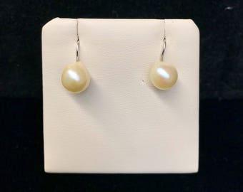 Vintage Yellow Freshwater Pearl Earrings VE-60