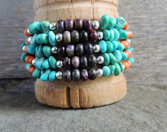 Southwestern Multi Strand Bracelet, Turquoise Cuff Bracelet, Artisan Jewelry, Handcrafted Silver Ring, Rustic Chic Jewelry, Casual Jewelry