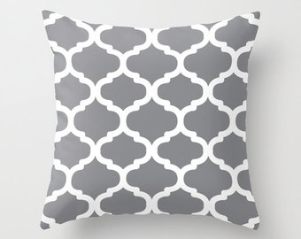 Moroccan Pattern pillow with insert  - Gray and White - Modern Home Decor - By Aldari Home