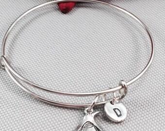 Penguin bangle bracelet, penguin bracelet, animal bracelet, personalized bracelet, initial bracelet, penguin jewelry, animal charm bracelet