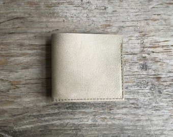 Leather Billfold Wallet - Repurpose Sand Light Beige Leather