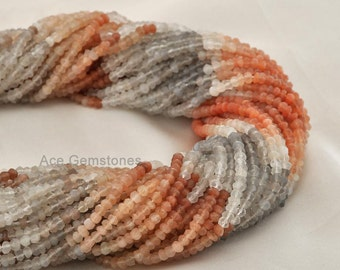 Genuine Multi Moonstone Rondelle Beads, Semiprecious Beads, Gemstone Beads A+ Grade, 3-4 mm, 35 cm Strand