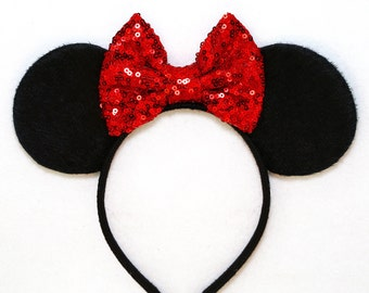 Minnie Mouse Ears Red Sequin Bow Mickey Mouse Ears Black Disney Ears Sequin Minnie Mouse Bow Minnie Mouse Headband Minnie Ears Mickey Ears