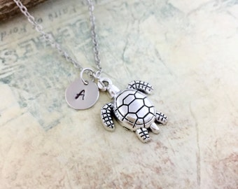 Turtle Necklace , Initial Necklace, Hand stamped Necklace, Best friend Gift, Handmade Jewelry, Friendship Necklace