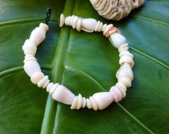 Men's Puka Shell Bracelet Hawaiian Shell Jewelry Cone Shell Beach Bracelet Kauai Puka Shell Bracelet Island Seashell Jewelry- Eco Friendly
