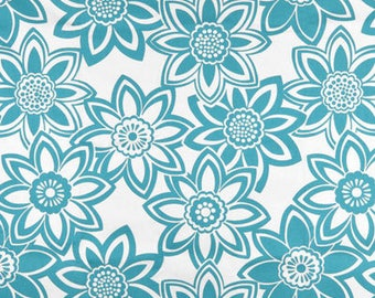 Full Bloom Fabric- Colors: Bright Blue or Dove Gray, Curtains, accent pillows