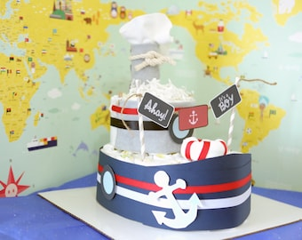 Nautical Boat Diaper Cake for Baby Boy / Baby Shower Centerpieces decorations / New Mom Unique Gifts / ship / Boys Room Nursery Decor