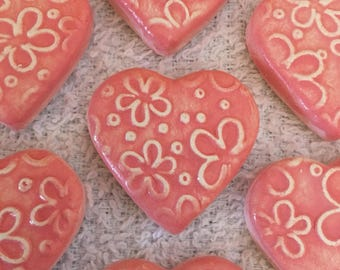 10 Handcrafted Bright Pink And White Heart Tiles That Can Be Used In Mosaic And Other Mixed Media Projects